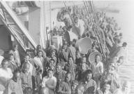 Labourers on board ship